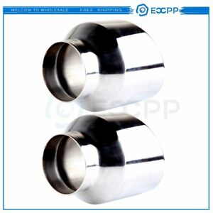 2 Pcs Stainless Steel Exhaust Tip Double Wall Angle 2 5 Inlet 4 Outlet 5 Long