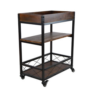 3 tier Cart Wood Iron Restaurant Buffet Home Kitchen Rolling Utility W Wheel Us