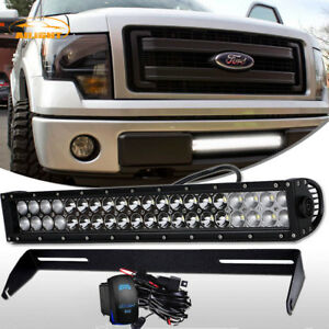 For Ford F150 20 Inch Led Work Light Bar Work Spot Flood Bupmer Mount Brackets