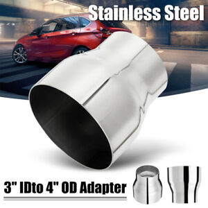 3 Id To 4 Od Chrome Stainless Steel Exhaust Pipe Adapter Reducer Connector