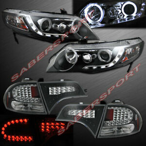 Black Halo Projector Headlights Led Taillights For 2006 2011 Civic 4dr Sedan