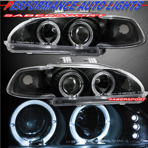 Pair 1pc Style Black Halo Projector Headlights For 1992 1995 Honda Civic 2 3dr