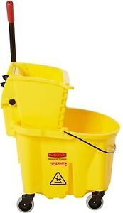 Rubbermaid Wavebrake Mopping Bucket And Wringer 26 qt Yellow