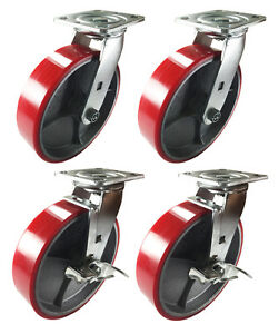 4 Swivel Casters 8 Heavy Duty Cast Iron Hub Non Skid Mark Wheels 2 Swivel Brake