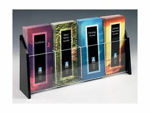 Displays2go 4 X 9 Brochure Holder For Tabletop Use 4 pocket Black Acrylic