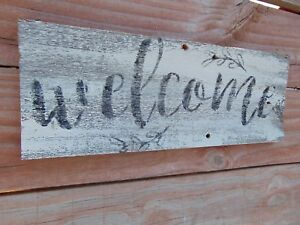 Primitive Welcome Weathered Old Wood Sign Antique Vintage Style Top Wall Mount