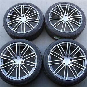 4 New 21 21x10 5x130 Turbo Style Wheels Tires Package Porsche Cayenne
