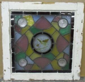 Old English Leaded Stained Glass Window Hand Painted Victorian 22 X 21 75