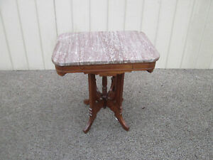 00001 Antique Victorian Marble Top Lamp Table Stand