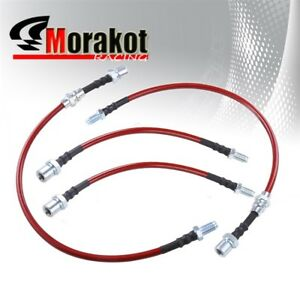 Corolla 84 87 Ae86 Front Rear Braided Hose Oil Brake Line Kit Cable Red Black