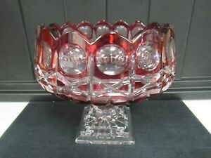 Large Cranberry Red Cut To Clear Crystal Compote 9 X9 Mint Bowl 2944