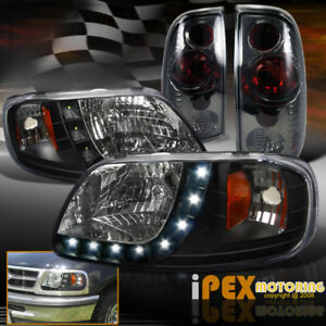 1997 2003 Ford F150 Black complete 4piece Led Headlights Smoke Tail Lights