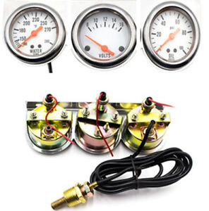 3 Gauge Illuminated Mechanical Kit Water Temperature voltage oil Pressure 52mm