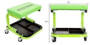 Cushioned Creeper Seat With Tool Tray Rolling Chair Stool Garage Mechanic Work