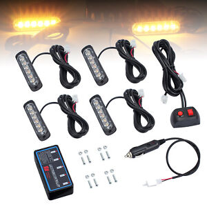4x 12 24v Amber 6 Led Flashing Strobe Recovery Emergency Breakdown Switch Light