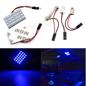 100pcs Blue T10 24 Smd 5730 Led Panel Bulb Light Dome Festoon Ba9s 3 Adapter