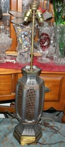 Antique Chester Cable Corp Industrial Table Lamp 2 Metal X Patterns Tall