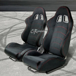 Full Reclinable Black Suede Red Stitch Bucket Racing Seats Mount Silders Rail