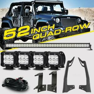 For Jeep Wrangler Jk 52 3600w Quad row 4x 4 Pods Cree Led Light Bar Mounts Kit