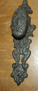 Old Cast Iron Antique Style Door Knob Gate Handle Pulls 11 Back Face Key