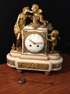 Antique 19th Century Allegorical Clock French Bronze White Marble
