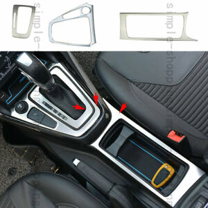 3pcs Gear Shift Knob Panel Cup Holder Frame Cover Trim For Ford Focus 2015 17