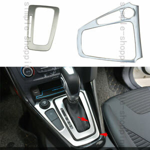 2pcs Steel Gearshift Knob Inner Outer Panel Cover Trim For Ford Focus 2014 2016