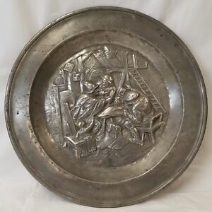 Large Signed Early Antique Pewter Charger Deep Relief Bar Fight