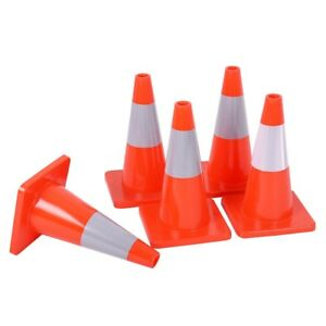 5pcs 18 Slim Multipurpose Pvc Fluorescent Safety Parking Traffic Cones Us