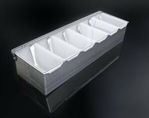 Stainless Steel Condiment Dispenser Compartment Food Tray Server Bar Fruit Caddy