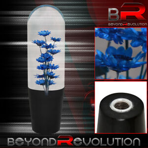 Universal Jdm Vip Poly Shift Knob Flower Filled Blue 150mm Adapters