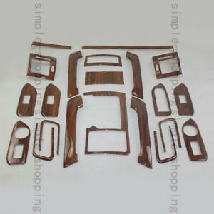 22pcs Wood Grain Inner Trim Kit Full Set Cover For Toyota Prado Fj150 2010 2016