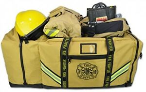 Firefighter Bag With Helmet Pocket Turnout Fire Gear Holder Fireman Rescue Tan