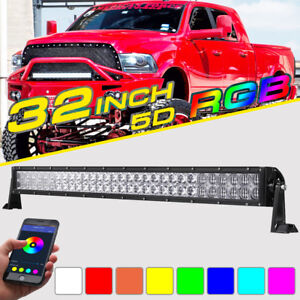 Rgb Led Light Bar 5d 32inch 420w Cree Strobe Flash Multi Color Offroad Truck 30