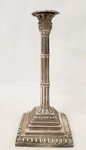 Antique Hallmarked Sterling Silver Neo Classical Column Candlestick