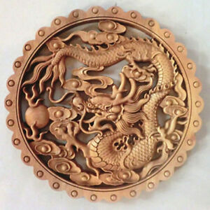 China Hand Carved Dragon Statue Camphor Wood Plate Wall Sculpture 01