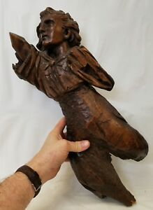 Large Antique 17th Or 18th Century European Carved Wood Angel Fragment