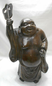 Large Antique Bronze Buddha Statue Hotei Lucky God Japanese 46
