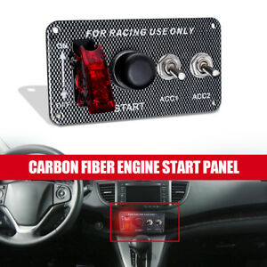Car Ignition Engine Push Start Button Carbon Fibre Panel Racing Toggle Switch Us