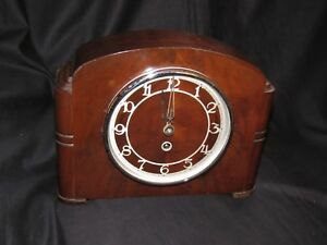 Art Deco Styled 1930 S Wooden Mantle Clock
