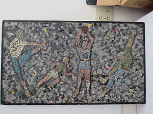 Vintage Mid Century Modern Mosaic Tile Framed Abstract Art Piece Sports Figures