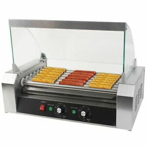 Commercial 18 Hot Dog Hotdog 7 Roller Grill Cooker Machine W Cover