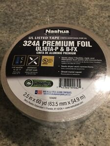 8 Rolls Of Nashua Tape 2 5 In X 60 Yd 324 A Premium Foil Ul Listed Hvac Tape