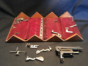 Vtg Wood Sewing Parts Puzzle Box Red Velvet Parts Included