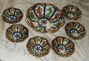 7 Pieces Antique Imari Porcelain Hand Painted Signed Japanese