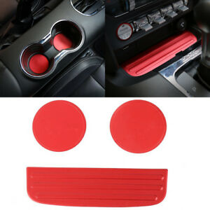 Red Dustproof Cup Mat Bottom Holder Anti Slip Pad Cover Trim For Ford Mustang B