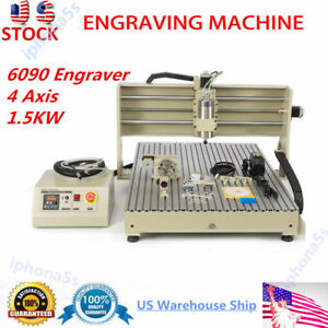 Usb 4axis 6090 Cnc Router 1 5kw Vfd Engraver Wood Acrylic Metal Sheet Engraving