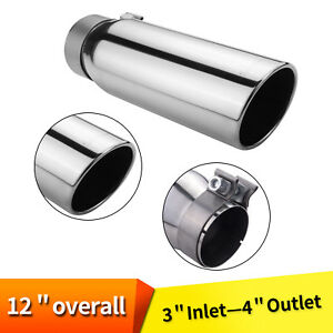 Car Exhaust Tip Stainless Steel 3 Inlet 4 Outlet 9 Long Rolled Edge Silverado