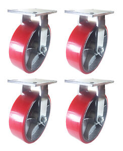 10 X 3 Red Polyurethane On Cast Iron Casters 4 Rigids