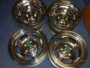 Vintage Set Polished 15 Slot Mag Wheels Ford Mopar Chevy Dodge Ss Gt R T Gto
